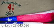 Купить «Composite image of creased us flag», фото № 28643586, снято 17 июля 2018 г. (c) Wavebreak Media / Фотобанк Лори