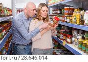 Купить «Smiling couple holding preserved goods», фото № 28646014, снято 11 апреля 2018 г. (c) Яков Филимонов / Фотобанк Лори