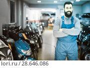 Купить «A large selection of motorcycles and scooters», фото № 28646086, снято 14 августа 2018 г. (c) Яков Филимонов / Фотобанк Лори
