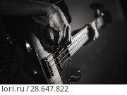 Купить «Electric bass guitar player hands, live music», фото № 28647822, снято 11 декабря 2016 г. (c) EugeneSergeev / Фотобанк Лори