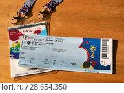 Купить «Паспорт болельщика Чемпионата мира по футболу FIFA 2018 (FAN ID) и билет на матч Дания - Франция (Москва, стадион Лужники, 26 июня 2018)», эксклюзивное фото № 28654350, снято 27 июня 2018 г. (c) Щеголева Ольга / Фотобанк Лори