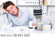 Купить «Businessman worrying at office», фото № 28661626, снято 25 апреля 2017 г. (c) Яков Филимонов / Фотобанк Лори