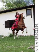 Купить «Красивая цыганка в ярком наряде возле коня», фото № 28662826, снято 13 мая 2018 г. (c) Марина Володько / Фотобанк Лори