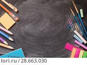 Купить «school supplies on blackboard», фото № 28663030, снято 26 июня 2018 г. (c) Майя Крученкова / Фотобанк Лори