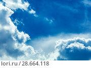 Купить «Clouds frame in sky», фото № 28664118, снято 18 июля 2018 г. (c) Ольга Сапегина / Фотобанк Лори
