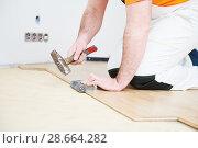Купить «worker joining parquet floor.», фото № 28664282, снято 25 января 2018 г. (c) Дмитрий Калиновский / Фотобанк Лори