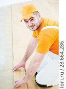 Купить «worker joining parquet floor.», фото № 28664286, снято 25 января 2018 г. (c) Дмитрий Калиновский / Фотобанк Лори