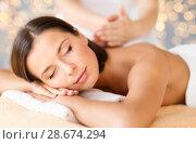 Купить «close up of beautiful woman having massage at spa», фото № 28674294, снято 25 июля 2013 г. (c) Syda Productions / Фотобанк Лори