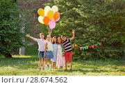 Купить «happy kids with balloons at summer birthday party», фото № 28674562, снято 27 мая 2018 г. (c) Syda Productions / Фотобанк Лори