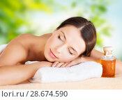 Купить «close up of beautiful woman having massage at spa», фото № 28674590, снято 25 июля 2013 г. (c) Syda Productions / Фотобанк Лори