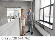Купить «businesswoman and businessman at coffee break», фото № 28674762, снято 25 февраля 2018 г. (c) Syda Productions / Фотобанк Лори