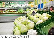 Купить «close up of cabbage at grocery store or market», фото № 28674998, снято 2 ноября 2016 г. (c) Syda Productions / Фотобанк Лори