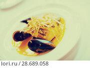 Купить «grilled fish with mussels», фото № 28689058, снято 14 ноября 2018 г. (c) Яков Филимонов / Фотобанк Лори