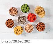 Купить «Different snacks for beer», фото № 28696282, снято 30 июня 2018 г. (c) Ольга Сергеева / Фотобанк Лори