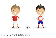 Football player in the form of Russia and Croatia on a white background. Стоковая иллюстрация, иллюстратор Анастасия Улитко / Фотобанк Лори