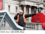 Купить «Workmen install Menorah in Trafalgar Square London for Chanukah - the Jewish Festival of Light Featuring: Atmosphere Where: London, United Kingdom When: 23 Dec 2016 Credit: WENN.com», фото № 28698462, снято 23 декабря 2016 г. (c) age Fotostock / Фотобанк Лори