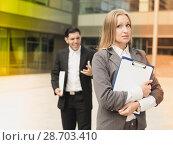 Купить «Sad woman is upset with the reprimand for the results of the financial report», фото № 28703410, снято 20 августа 2017 г. (c) Яков Филимонов / Фотобанк Лори