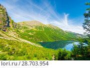 Купить «Beautiful view from the mountain to the Morskie Oko lake in Poland, Zakopane», фото № 28703954, снято 18 августа 2017 г. (c) Константин Лабунский / Фотобанк Лори