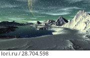 Купить «Чужая планета. Скалы и озеро. Анимация. Панорама. 4К», видеоролик № 28704598, снято 8 июля 2018 г. (c) Parmenov Pavel / Фотобанк Лори