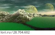 Купить «Чужая планета. Скалы и озеро. Анимация. Панорама. 4К», видеоролик № 28704602, снято 8 июля 2018 г. (c) Parmenov Pavel / Фотобанк Лори