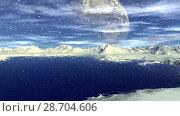 Купить «Чужая планета. Скалы и озеро. Анимация. Панорама. 4К», видеоролик № 28704606, снято 8 июля 2018 г. (c) Parmenov Pavel / Фотобанк Лори