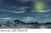 Купить «Чужая планета. Скалы и озеро. Анимация. Панорама. 4К», видеоролик № 28704610, снято 8 июля 2018 г. (c) Parmenov Pavel / Фотобанк Лори