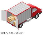 Купить «Квартирный переезд. Грузовой автомобиль и картонные коробки», иллюстрация № 28705354 (c) Алексей Григорьев / Фотобанк Лори