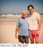 Купить «Portrait of smiling family at beach», фото № 28706826, снято 19 августа 2018 г. (c) Wavebreak Media / Фотобанк Лори