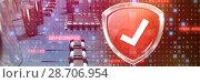 Купить «Composite image of red symbol validation», фото № 28706954, снято 22 июля 2018 г. (c) Wavebreak Media / Фотобанк Лори