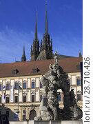 Купить «Czech Republic, Brno, Parnassus Fountain, Moravian Mseum, Cathedral,.», фото № 28710426, снято 20 мая 2018 г. (c) age Fotostock / Фотобанк Лори