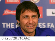 Купить «Chelsea manager Antonio Conte addressing a press conference at the Chelsea training facility in Cobham, Surrey, ahead of the club's FA Cup match against...», фото № 28710662, снято 6 января 2017 г. (c) age Fotostock / Фотобанк Лори