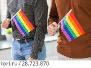 Купить «close up of male couple with gay pride flags», фото № 28723870, снято 2 ноября 2017 г. (c) Syda Productions / Фотобанк Лори