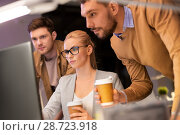 Купить «business team with coffee working at night office», фото № 28723918, снято 26 ноября 2017 г. (c) Syda Productions / Фотобанк Лори