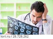 Купить «Doctor radiologist looking at x-ray scan in hospital», фото № 28728262, снято 14 мая 2018 г. (c) Elnur / Фотобанк Лори