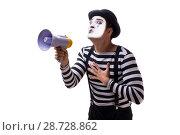 Купить «Mime with megaphone isolated on white background», фото № 28728862, снято 24 августа 2017 г. (c) Elnur / Фотобанк Лори