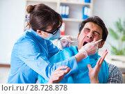 Купить «Patient afraid of dentist during doctor visit», фото № 28728878, снято 8 марта 2018 г. (c) Elnur / Фотобанк Лори