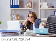 Купить «Businesswoman employee sick in the office», фото № 28729394, снято 8 января 2018 г. (c) Elnur / Фотобанк Лори