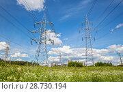 Купить «Высоковольтная линия и новостройки на горизонте», фото № 28730194, снято 23 июня 2018 г. (c) Юлия Бабкина / Фотобанк Лори