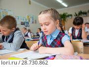 Купить «Урок в первом классе», фото № 28730862, снято 21 мая 2018 г. (c) Иван Карпов / Фотобанк Лори