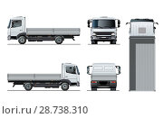 Купить «Vector flatbed truck template isolated on white», иллюстрация № 28738310 (c) Александр Володин / Фотобанк Лори