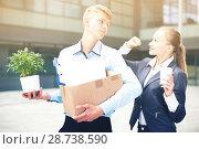 Купить «Boss woman is wishing good luck to office worker», фото № 28738590, снято 15 июля 2017 г. (c) Яков Филимонов / Фотобанк Лори