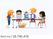 Купить «Boys and girls standing and sitting around desk with laptops and robot and working on school project for programming lesson. Concept of coding and robotics for kids. Flat cartoon vector illustration.», иллюстрация № 28746418 (c) Olga Petrakova / Фотобанк Лори
