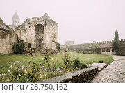 Купить «Ninotsminda Village, Kakheti Region, Georgia. Ruins Of Old Church Monastery Of Saint Nino, Ninotsminda Near Sagarejo. Monastery Was One Of Most Important Spiritual And Educational Centers In Georgia.», фото № 28750162, снято 22 октября 2016 г. (c) easy Fotostock / Фотобанк Лори