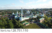 Купить «Panoramic view of unique monastery complex of Trinity Lavra of St. Sergius in sunny day, Sergiev Posad, Moscow region, Russia», видеоролик № 28751110, снято 28 июня 2018 г. (c) Яков Филимонов / Фотобанк Лори