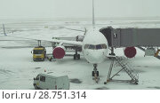 Купить «Service of the aircraft preparation for flight at a snowy aerodrome of Astana International Airport stock footage video», видеоролик № 28751314, снято 30 марта 2018 г. (c) Юлия Машкова / Фотобанк Лори