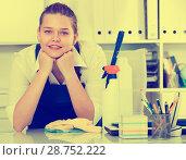 Купить «Female office cleaner is satisfied after cleaning», фото № 28752222, снято 9 июня 2017 г. (c) Яков Филимонов / Фотобанк Лори