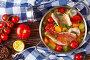 Купить «greek psarosoupa in a metal casserole», фото № 28752902, снято 6 июля 2018 г. (c) Oksana Zh / Фотобанк Лори