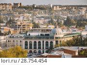 Kutaisi, Georgia. Building Of Bank In Davit Aghmashenebeli Square In Sunny Autumn Evening. Стоковое фото, фотограф Ryhor Bruyeu / easy Fotostock / Фотобанк Лори