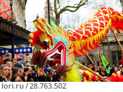 Купить «Costumed performers take part in the Chinese New Year Parade in central London, along Charing Cross Road and Chinatown, with further celebrations in Trafalgar...», фото № 28763502, снято 29 января 2017 г. (c) age Fotostock / Фотобанк Лори