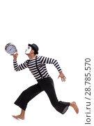 Купить «Mime in time management concept isolated on white background», фото № 28785570, снято 24 августа 2017 г. (c) Elnur / Фотобанк Лори